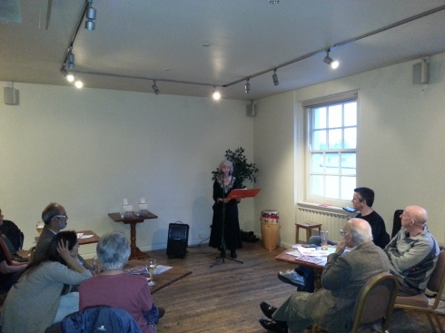 Poet Alison Brackenbury reading at the BlueGate Poets Open Mic night