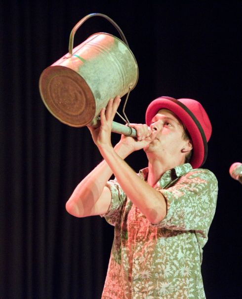 Jacob Hi-Ho plays the watering can