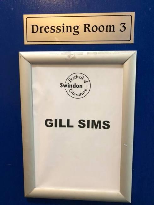 Gill's dressing room door
