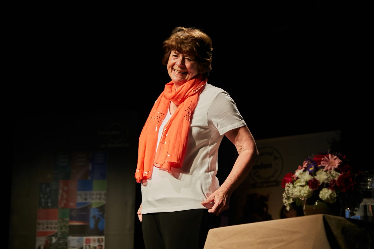 Pam Ayres recites 'But Don't Kiss Me' to Chronicler, Emma Smith